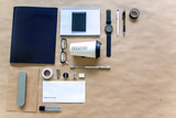 stationery pen scissors notebook on a wooden table
