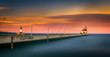 Pink peaceful sunset over the horizon of Lake Superior at Canal Park Duluth Minnesota