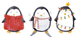 Watercolor christmas baby penguin set - 219234547