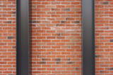 Steel structure and red brick wall texture