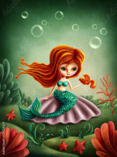 Beautiful little mermaid girl - 219258329