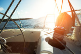 Sailboat with winch and rope on deck - 219275123