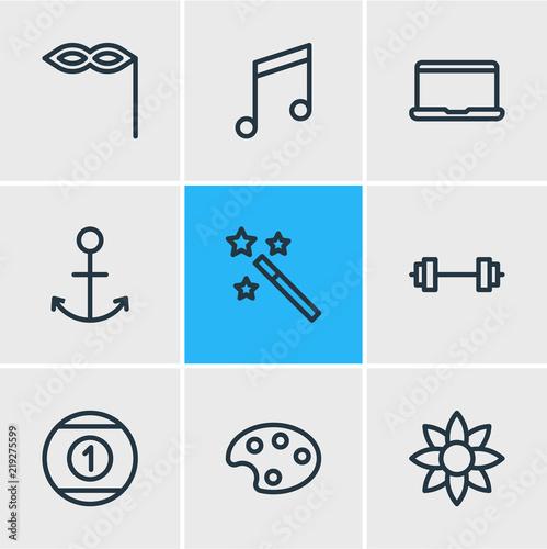 Vector illustration of 9 joy icons line style. Editable set of anchor, magic wand, mask icon elements. - 219275599
