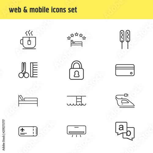 Vector Illustration Of 12 Travel Icons Line Style Editable Set Swimming Pool Iron