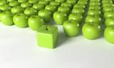 3D Äpfel in Reihe - Ecken und Kanten zeigen - 219287357