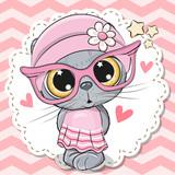 Cute Cat girl in pink eyeglasses