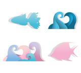 Paper art underwater icons