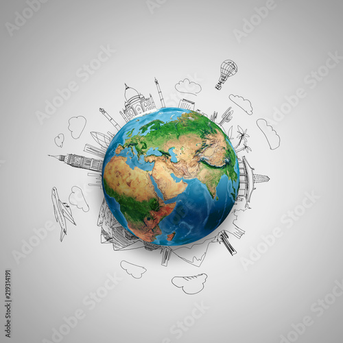 Earth planet on grey background with pencil sketches. Elements of this image are furnished by NASA - 219314191