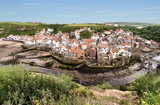 The North Yorkshire coastal village of Staithes, viewed from Cowbar Nab. - 219324165