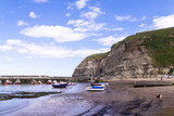 Staithes, North Yorkshire, UK.  A view of Staithes harbour and the Penny Nab headland. - 219324335