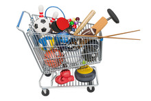 Sports Game Equipment In Shopping Cart 3d Rendering Sticker