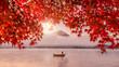 Leinwandbild Motiv Colorful autumn season and Mountain Fuji