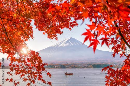 Leinwanddruck Bild Colorful autumn season and Mountain Fuji