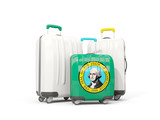 Luggage with flag of washington. Three bags with united states local flags - 219365764