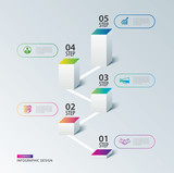 Infographics box square with 5 data timeline template. Vector illustration abstract background. Can be used for workflow layout, business step, tag, banner, web design. - 219368774