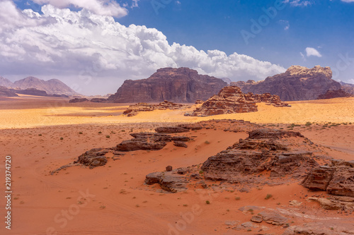 Dunes of red sand in Wadi Ruma desert, Jordan © arkady_z
