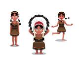 Native American Girl Poses Cartoon Vector Illustration
