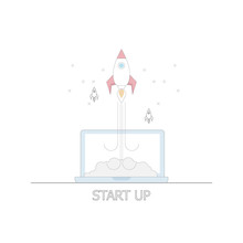 Business Startup Concept Rocket Launch From Laptop Sticker