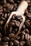 Grains of coffee in a scoop