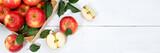 Äpfel Apfel Frucht Früchte Obst von oben Banner Textfreiraum Copyspace Blätter Holzbrett