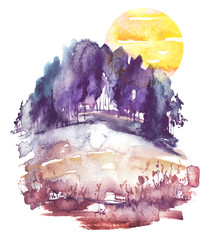 Watercolor landscape, forest.