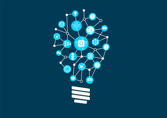 Quantum computing vector illustration as example for digital innovation. Icons arranged as light bulb1 © iconimage