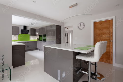 Contemporary Ed Kitchen In Striking Lime Green Grey And White Colour Scheme With Built