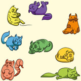 Set of colorful guard cats