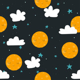 Childish cute seamless pattern with moon, stars and cloud. Vector hand drawn illustration. - 219407712
