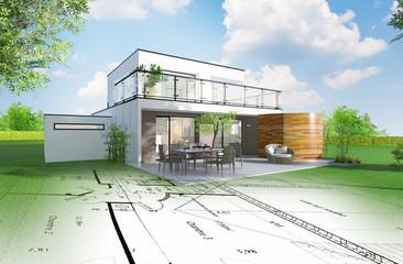 Projet de construction d'une maison individuelle d'architecte © Chlorophylle