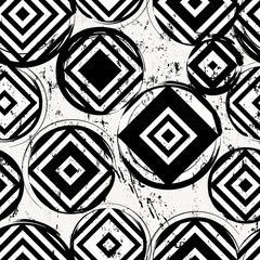seamless background pattern, with circles, squares, strokes and splashes, black and white © Kirsten Hinte