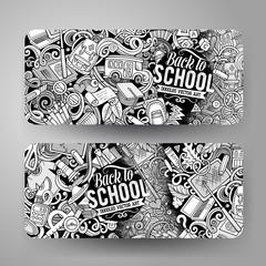 Cartoon cute contour vector hand drawn doodles School banners