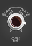 Coffee time. Realistic coffee cup and painted alarm clock. Concept. Vector illustration - 219429769