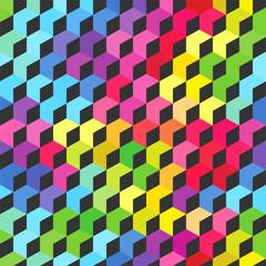 Colorful bright cubes. Seamless pattern, geometric background. optical illusions. Vector illustration. © svetlanasmirnova