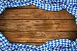 Leinwanddruck Bild - Rustikaler Oktoberfest holz hintergrund leer mit wiesn bayern bayrische fahne flagge / bavaria wooden wood background with bavarian flag empty copy space