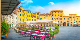 A cozy morning cafe on the square of the old town. Italy. Europe