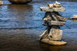 Inukshuk by the river edge.