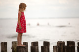 Beautiful little girl at the beach  - 219455940