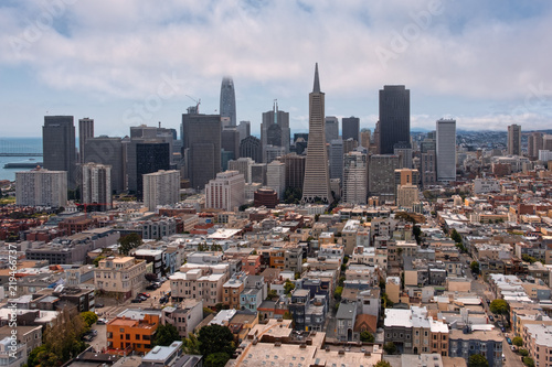 Colorful cityscape of San Francisco in a cloudy day