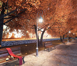 Fall in park with leaves falling from trees and the bench, autumn background 3D Rendering
