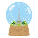 eiffel tower inside snow ball glass
