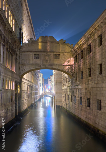 The Bridge of Sighs (Ponte dei Sospiri in Italian) at night in Venice