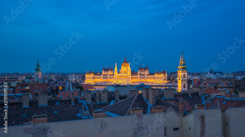 Budapest city skyline with view of Pest bank of Danube River in Budapest city, Hungary at night