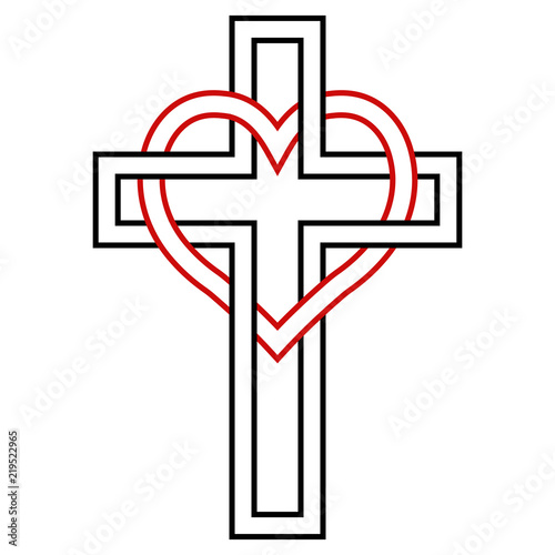 Intertwining Of The Heart And Christian Cross Vector Symbol Of
