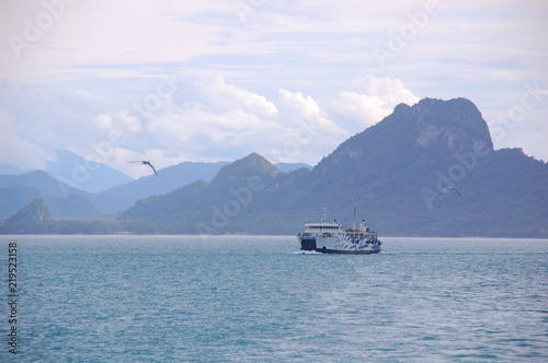 Seascape and boats in Koh Phangan in Thailand