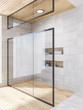 Leinwandbild Motiv White wood bathroom corner, shower glass door