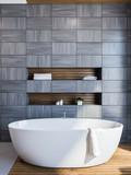 Scandinavian style bathroom interior, gray - 219526781