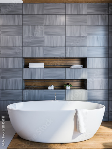 Scandinavian style bathroom interior, gray - 219526781