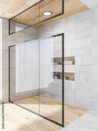 White wood bathroom corner, shower glass door - 219526796