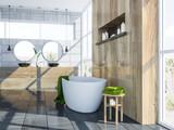 Gray Scandinavian bathroom interior, tub and sink